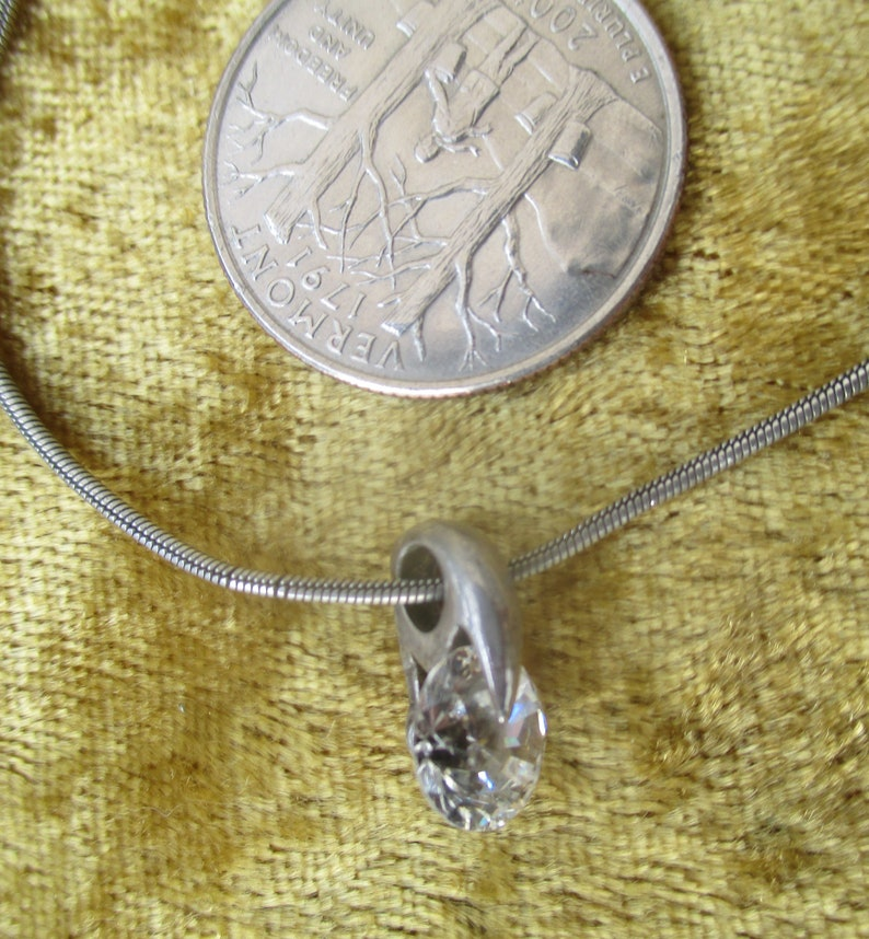 Delicate 70s sterling crystal drop choker necklace solid stamped silver