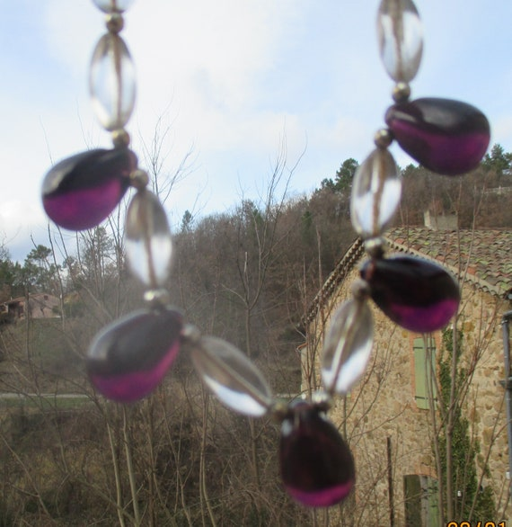 clear oval with translucid purple pendant choker Vintage glass drop necklace 1940s