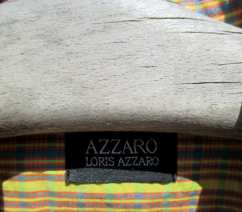 pure cotton L short sleeved candy stripe for summer 15 12 collar 90s Loris Azzaro shirt excellent condition XL