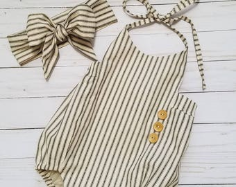 Baby Girls Boho Romper Set-Striped Romper-Girls Vintage style Romper-black and cream Romper outfit-Shabby Chic Romper-sizes NB-18/24 months