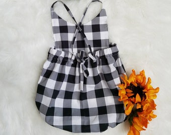 Baby girls Boho Romper Set-Black Buffalo Check Romper- 1st Birthday romper outfit-Smash Cake Romper outfit-plaid romper-Sizes NB-18-24MTH