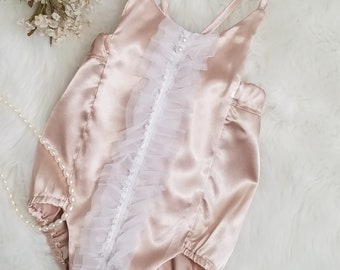 b8ff842b9d09 Baby Girl Romper-Satin Romper-Smash Cake Romper-1st Birthday Romper-Wedding  Romper-Special Occassion Outfit-sizes NB-18 24mth