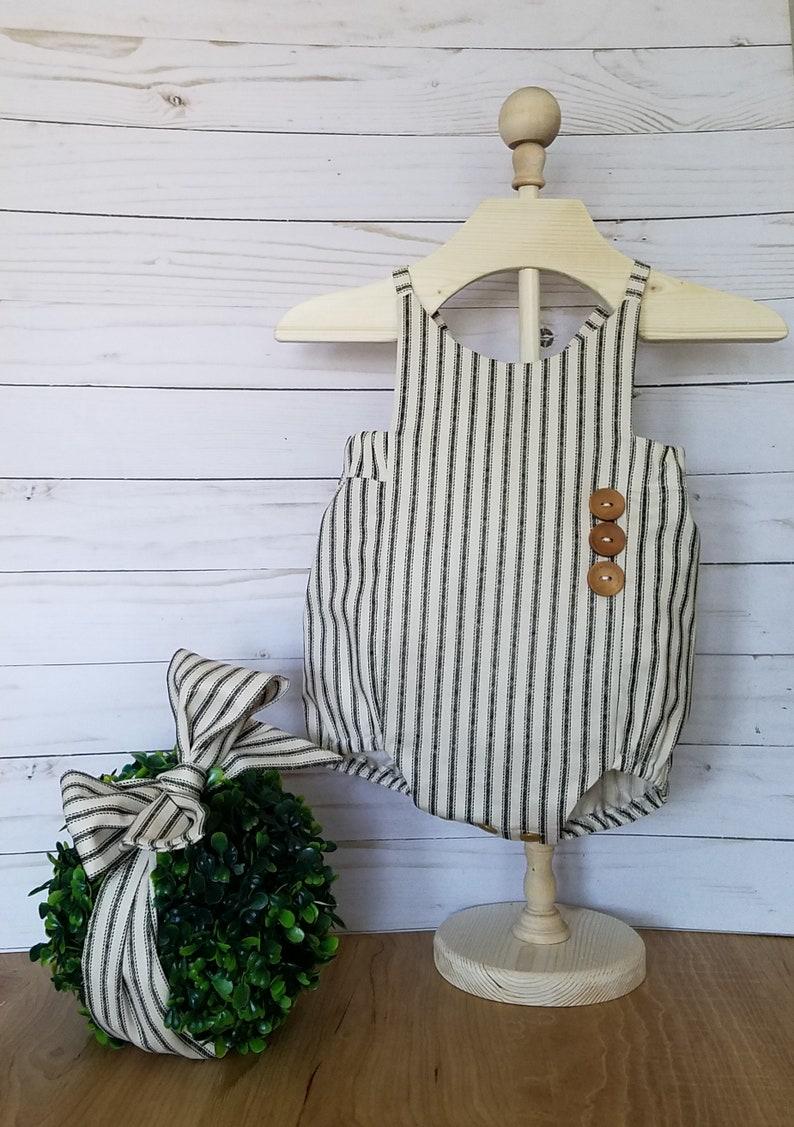Vintage Inspired Romper-1st birthday Romper-Shabby Chic Romper-sizes Newborn-1824 months Baby Girls Ticking Stripe Romper