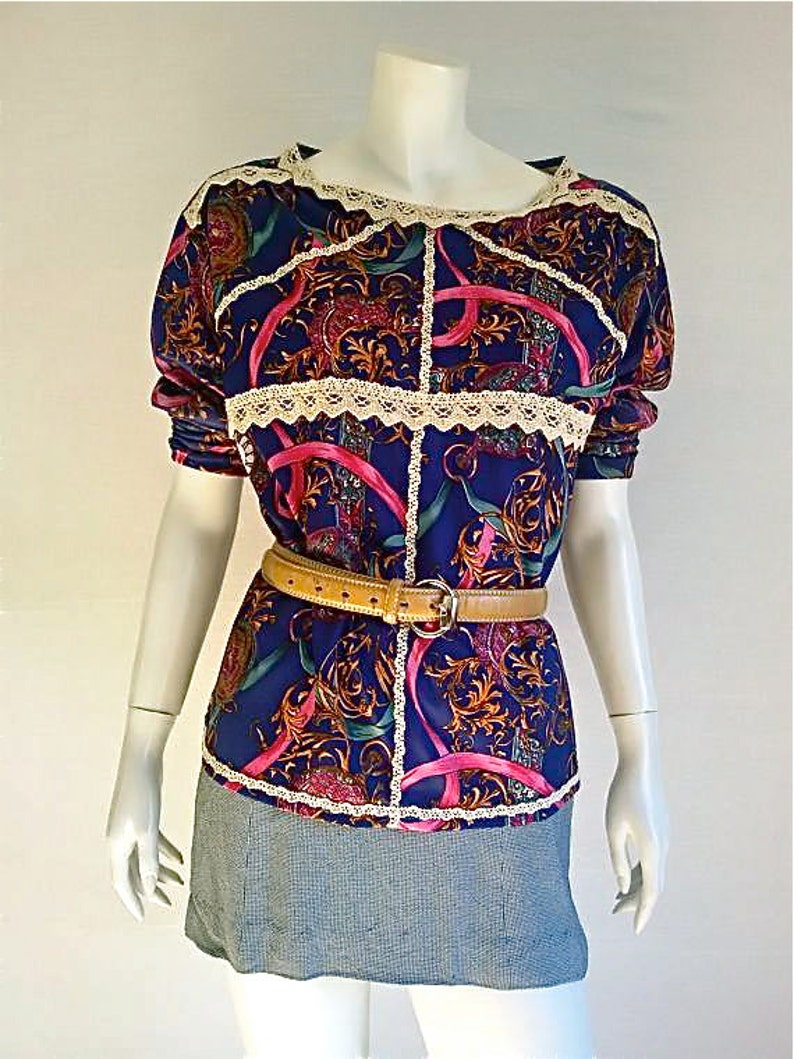 Jersey vintage80s excellent condition. Us size 10 up cycled handmade blue color