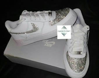 Adult Bling Swarovski   Rhinestone Customised Nike Air Force Ones White  size 6 7 8 9 10 11 UK Brand New! c3c712e10