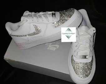 Adult Bling Swarovski   Rhinestone Customised Nike Air Force Ones White  size 6 7 8 9 10 11 UK Brand New! b487e36629
