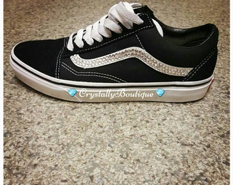 Vans Black and White Old Skool Customised with Swarovski   Rhinestone  Crystals 42901a5ec153