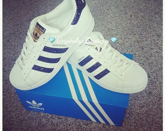 Adult Adidas Superstar Customised Bling with Black and Clear Crystals size  6 7 8 9 10 11 UK f27efb662