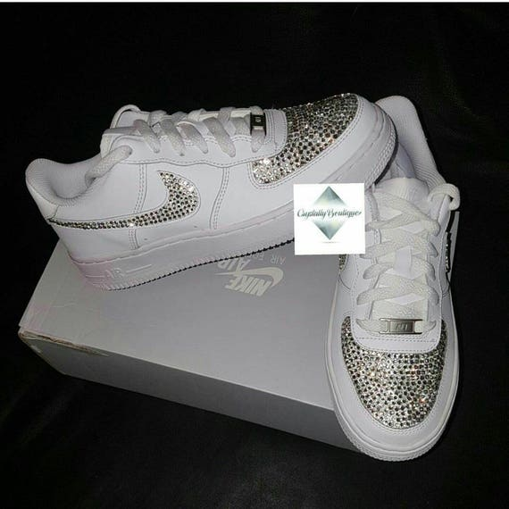 Adulte Bling Swarovski Rhinestone Customised Nike Air Force Ones White size 6 7 8 9 10 11 UK Brand New!