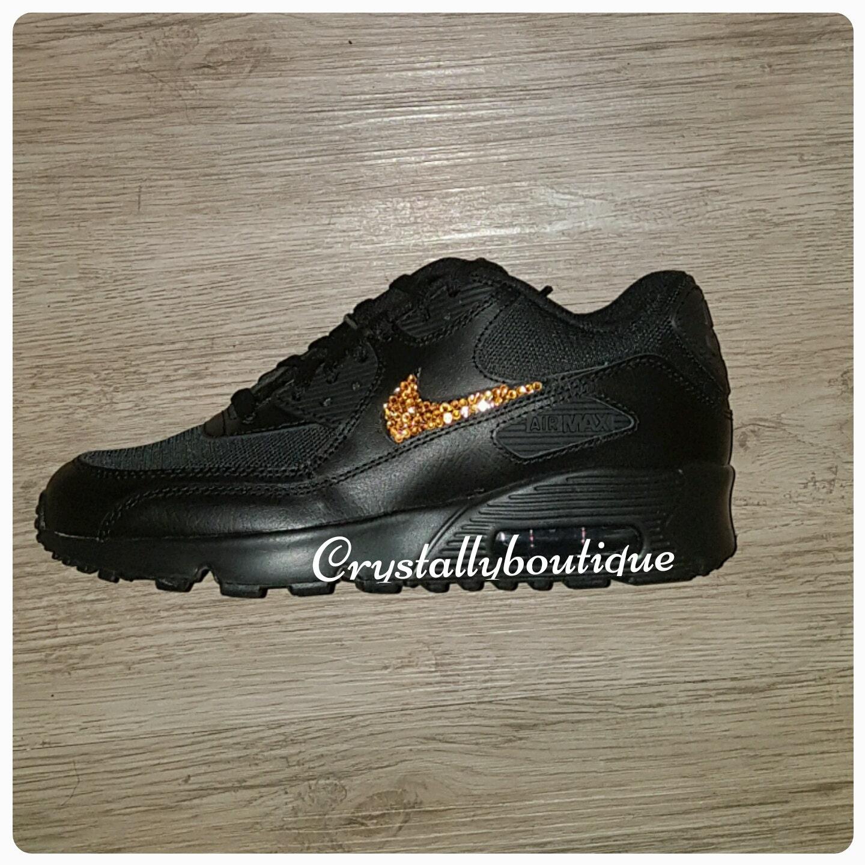 Junior Customised Black Bling Nike Air Max 90 Orange Sparkle Crystals size 3 4 5 5.5 UK