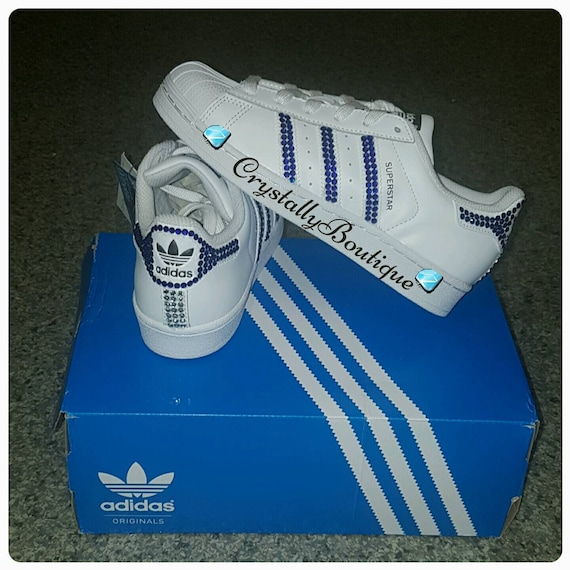 eficiencia Machu Picchu Parcial  Junior White Adidas Superstar Original Customised Bling with | Etsy