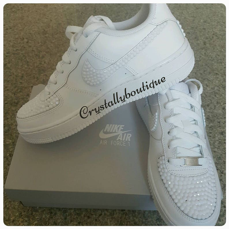 b2f395d37a97c Adult Nike Air Force Ones White customised with White Rhinestone Crystals  size 6 7 8 9 10 11 UK Brand New!