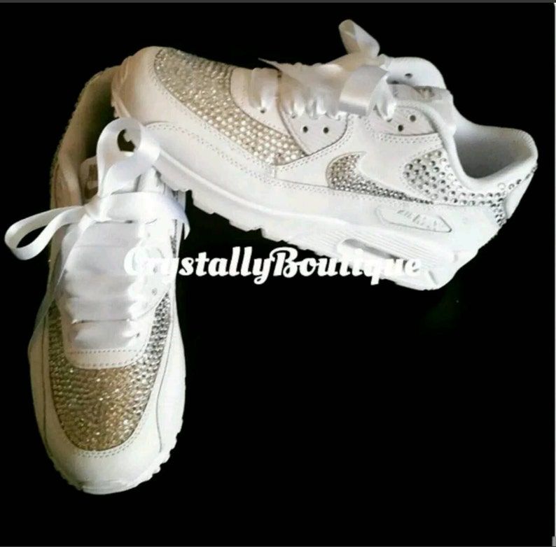 49a17778891ef Adult Customised Black Bling Nike Air Max 90 Clear Sparkle Crystals size 6  7 8 9 10 11 UK