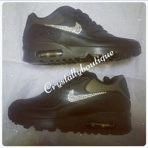 Junior Customised Black Bling Nike Air Max 90 Clear Sparkle Crystals size 3 4 5 5.5 UK