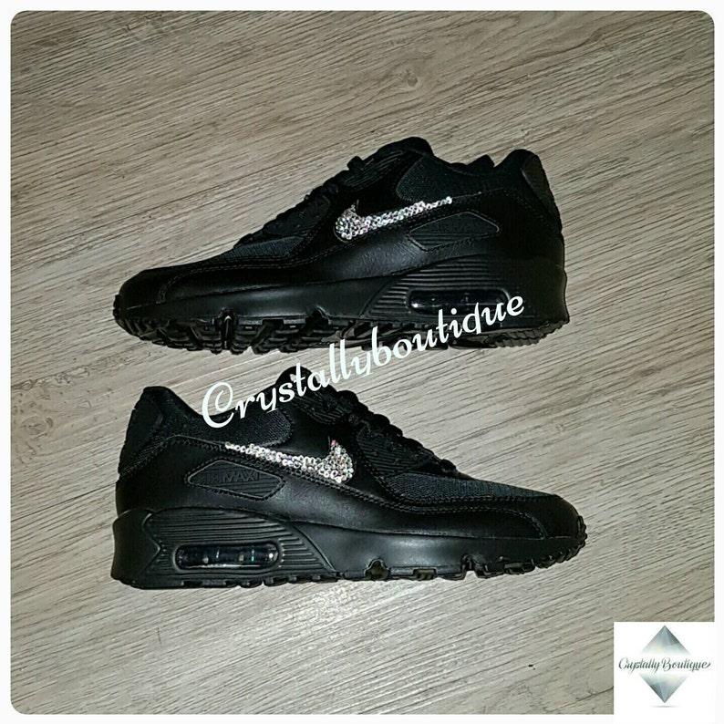 c0bbf6bc21b00 Adult Customised Black Bling Nike Air Max 90 Black Sparkle Crystals size 6  7 8 9 10 11 UK