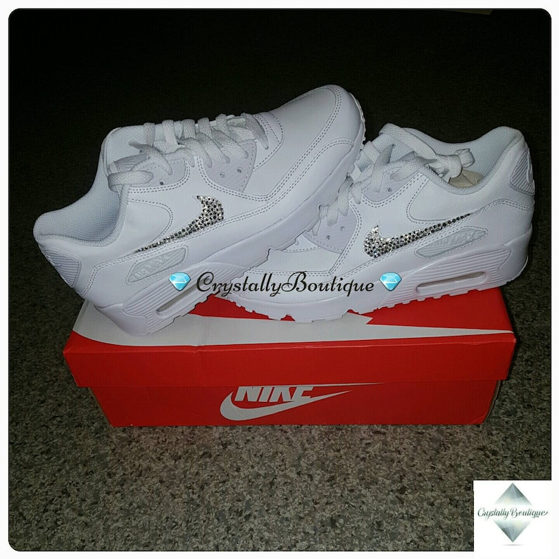 612a8be806362 Beautiful Adult Bling Nike Air max 90 Customised Tick with Swarovski and  Rhinestone Crystals White size 6-11 UK Brand New!