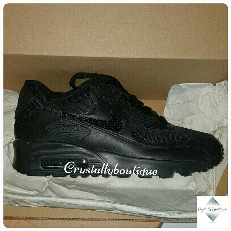 Adult Customised Black Bling Nike Air Max 90 Black Sparkle  efe671b480