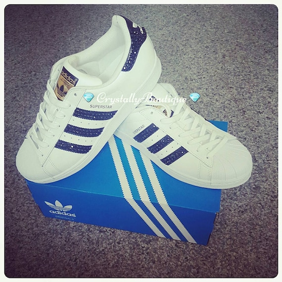 Adult Adidas Superstar Customised Bling with Black and Clear Crystals size 6 7 8 9 10 11 UK
