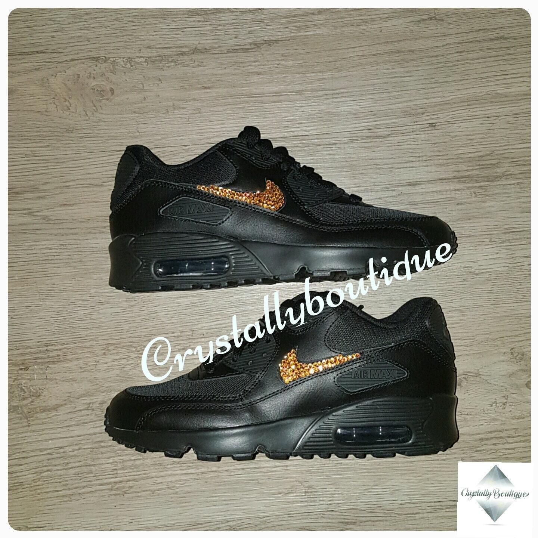 93ed3bfa387fc Adult Customised Black Bling Nike Air Max 90 Orange Sparkle Crystals size 6  7 8 9 10 11 UK