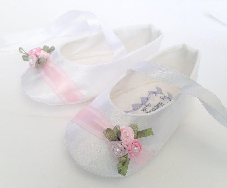 3fbc478aa9a1 Custom White Sateen with pink roses Personalized baby shoes