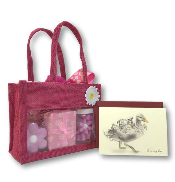 Pink Daisy Gift Bag - Bath Set (large)