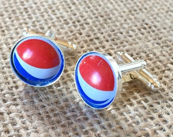 Pepsi Bottle Cap Cufflinks  - Unique Gift for Groomsman Birthday Anniversary Boyfriend Wedding Father Holiday Christmas Cuff Links