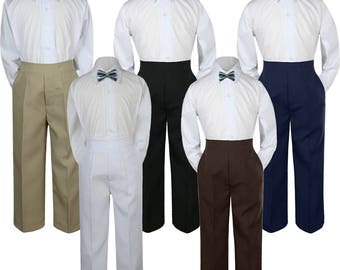 3pcs NAVY Bow Tie Boy Baby Toddler Graduation Uniform Wedding White Shirt with Different Color Pants for Option  C1+503 Navy