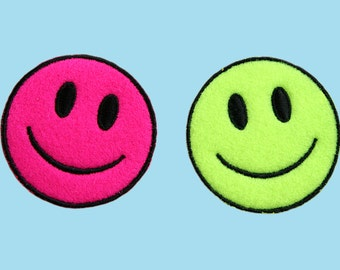 Smiley Face Emoji Motifs x 2 Iron Sew On Patch Applique Craft Factory CFM1//015