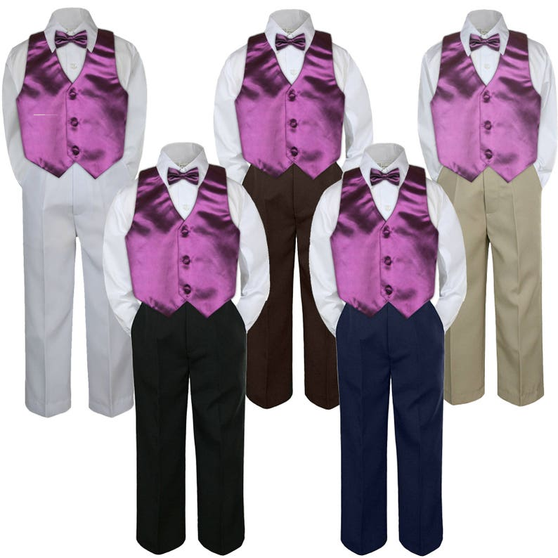 db71720ad42 4pc EGGPLANT Vest   Bow Tie Boy Baby Toddler Ring Bearer