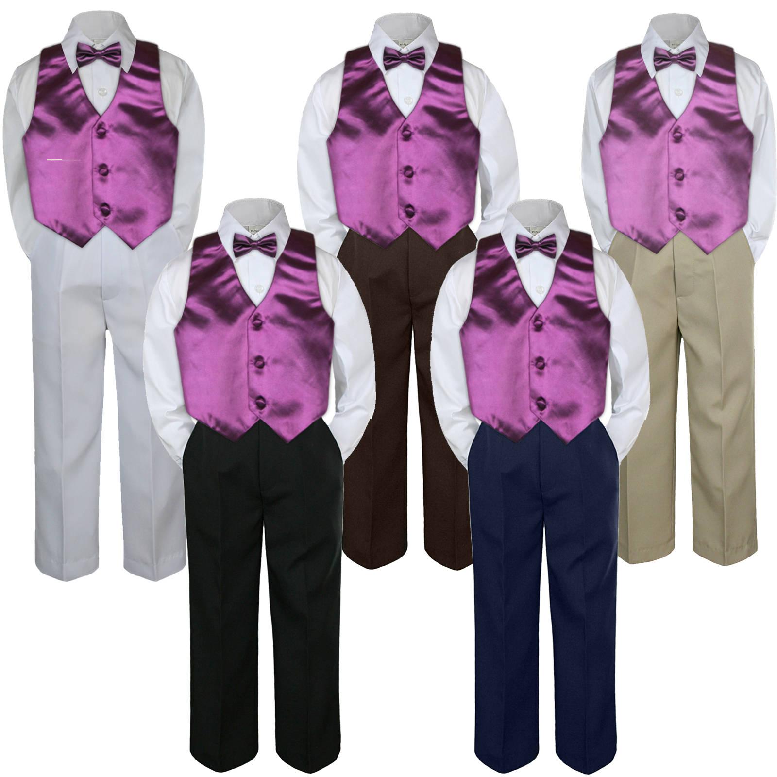 4pc  Baby Toddlers Boys NAVY PANTS 23 colors Selection Formal Vest Set Suit  C1+507