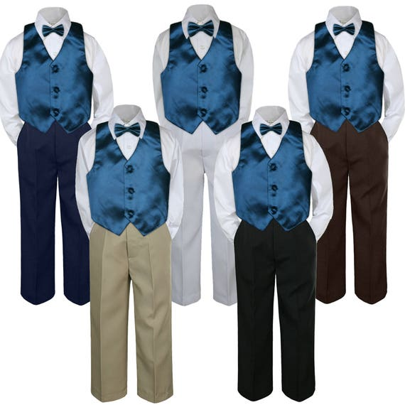 4pc Boys Suit Set Ivory Off White Vest Bow Tie Baby Toddler Kids Pants S-7