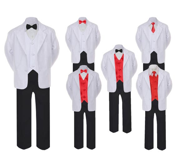 New Baby Toddler Boys Coral Black Vest Suit Outfit 4 Piece Christmas Wedding