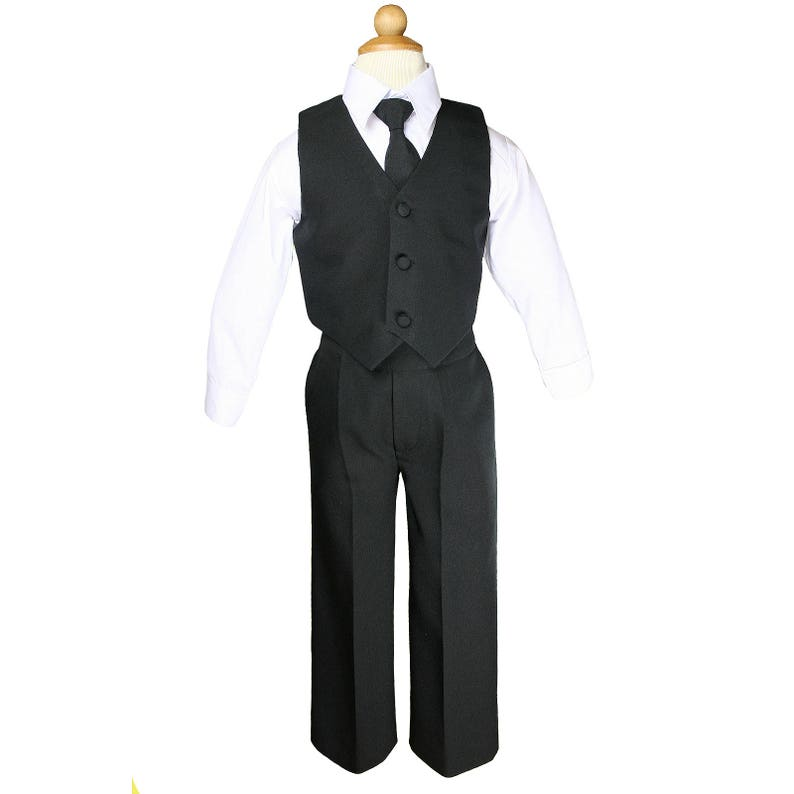 a6688071c2f4 CHARCOAL Black 4pc Boy Baby Toddler Formal Birthday 1st
