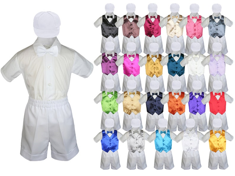 6pc Boy Baby Toddler Ring Bearer Wedding Formal White Shorts Outfit with 23 Colors Satin Vest Bow Tie for Option 058 White+507