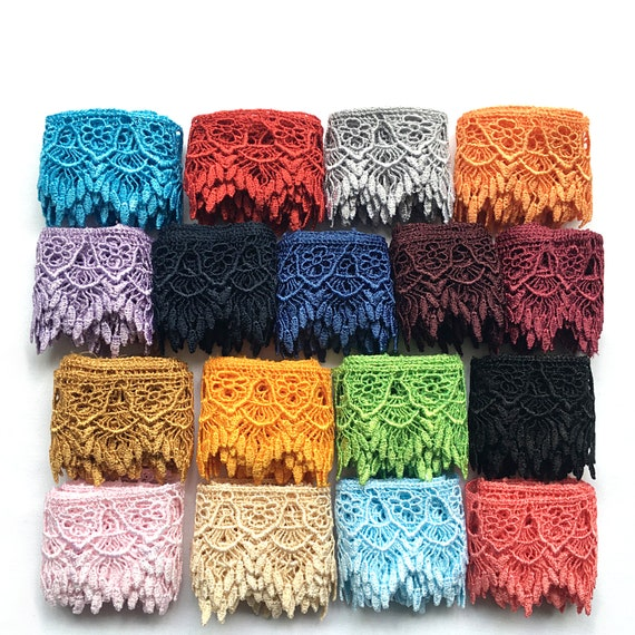 """3/"""" Black White Ivory Burgundy Blue 12 Colors Venice Lace Trim Guipure By Yardage"""