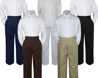 3pcs WHITE Bow Tie Boy Baby Toddler Graduation Uniform Wedding White Shirt with Different Color Pants for Option  C1+503 White