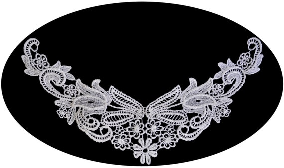"""10/""""x 10/"""" White Venice Embroidery Bodice Motif Applique sewing notions by Piece"""