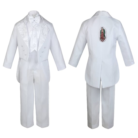 Special Holy Mary Baptism suit with Included Estola Communion tuxedo in White and Gold Details