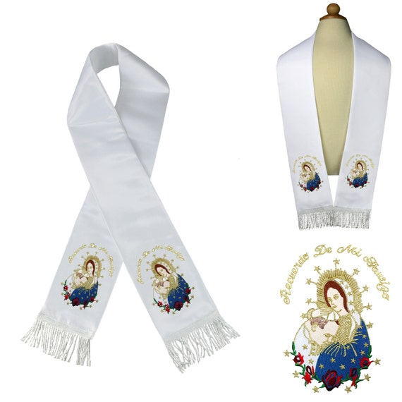 Metallic Embroidered Christening Baptism Stole Scarf Sash Virgin Mary Pope Maria