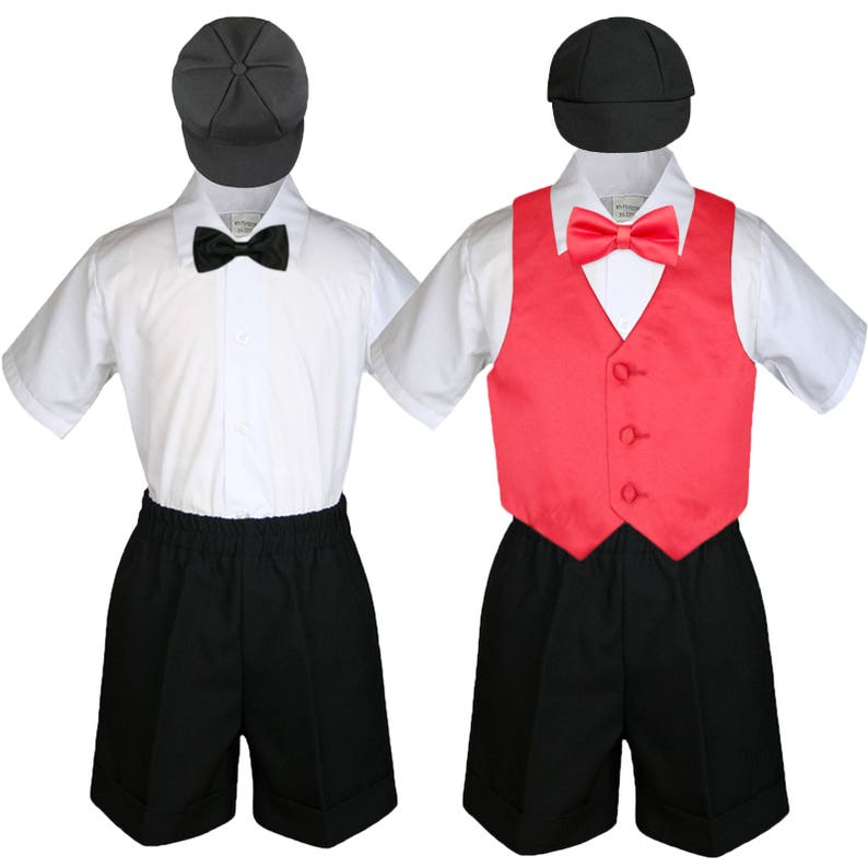 6pc Boy Baby Toddler Ring Bearer Wedding Formal Black Shorts Outfit with 23 Colors Satin Vest Bow Tie for Option 058 Black+507