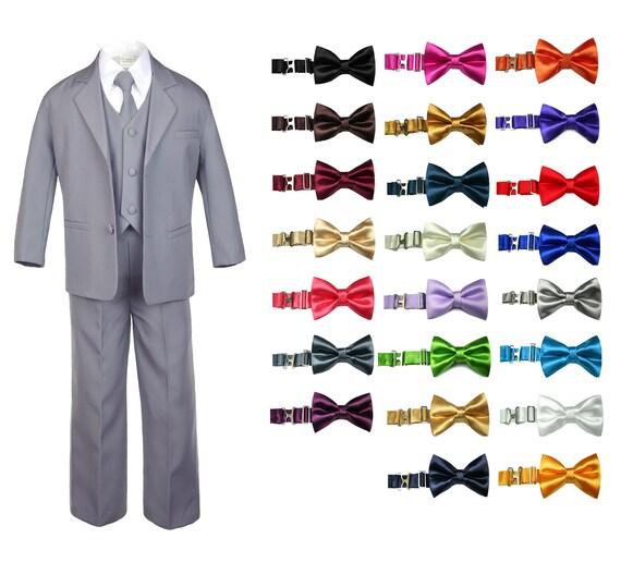 Tie 6pcs Set 9 Color sz S-4T Baby Toddler Formal Wedding Tuxedo Boy Suit Khaki