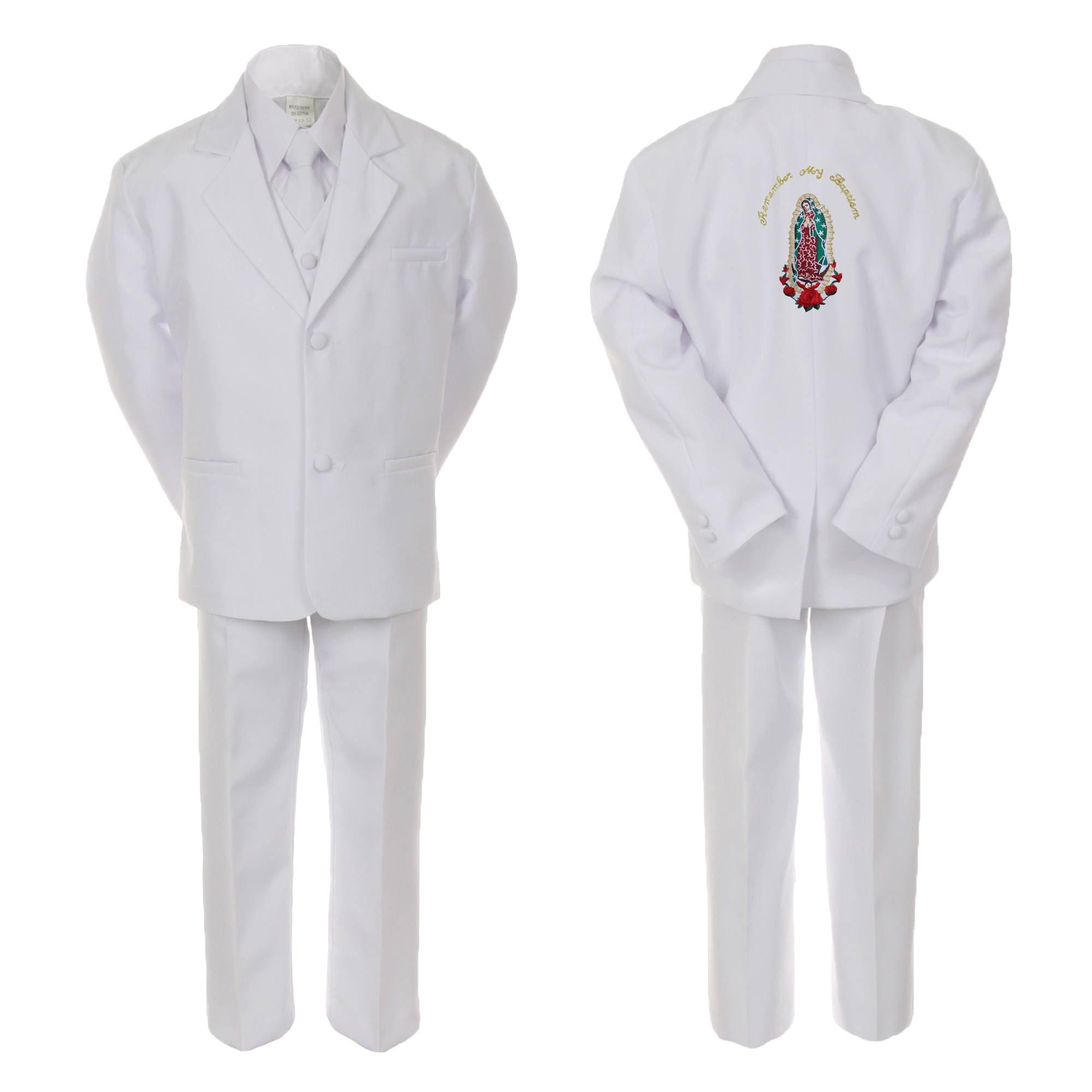 Infant,Toddler /& Boy Communion Baptism Tuxedo Suit S M L XL 2T 3T 4T 5 6 7 WHITE