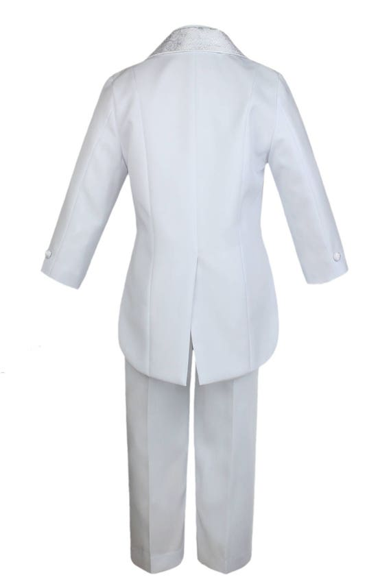 NEW BOY 5 PCS PAISLEY TAIL TUXEDO WHITE 3T//4T,Wedding//Recital