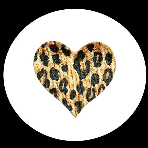 """3 1//2/"""" Leopard Gold Metallic Black Iron On Patch Sew On Glue On Applique Embroid"""