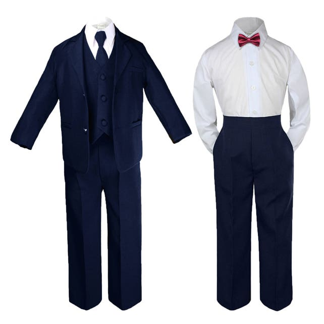 d85f4e0d4 NAVY BLUE New Baby Toddler Boys Formal Baptism Wedding Ring Bearer Formal  Occasion 6 pieces Suit ...