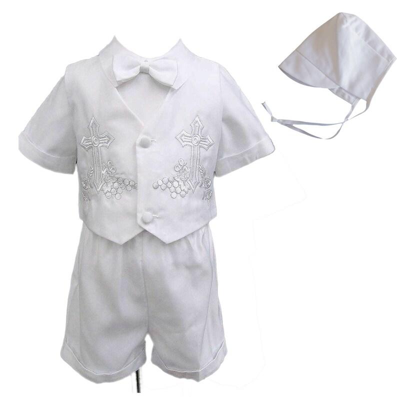 fc98647ba89 Baby Boy Toddler Baptism Formal Embroidered Vest Shorts Suit