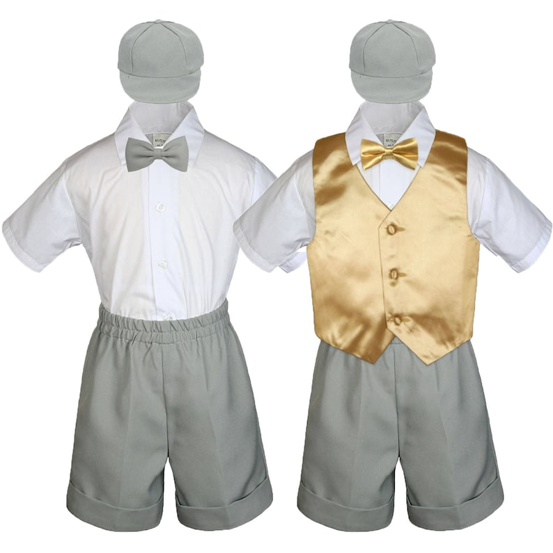 6pc MUSTARD Vest /& Bow Tie Boy Baby Toddler Ring Bearer Wedding Formal Vest Suit with 7 Color Shorts for Option 058+507 Mustard