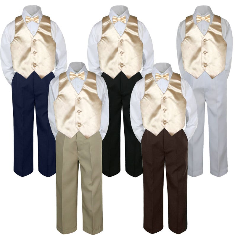 Boys' Clothing (Newborn-5T) 9 Color Choice 4pc Satin Vest Bow Tie Boy Suit Set Baby Toddler Kid Formal S-7 Clothing, Shoes & Accessories