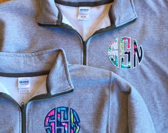 Monogrammed Quarter Zip Pullover Lilly Fabric Special Offer Blowout Price