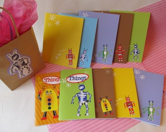 Set of 5 Robot Greeting Cards and 5 Small Jotter Books